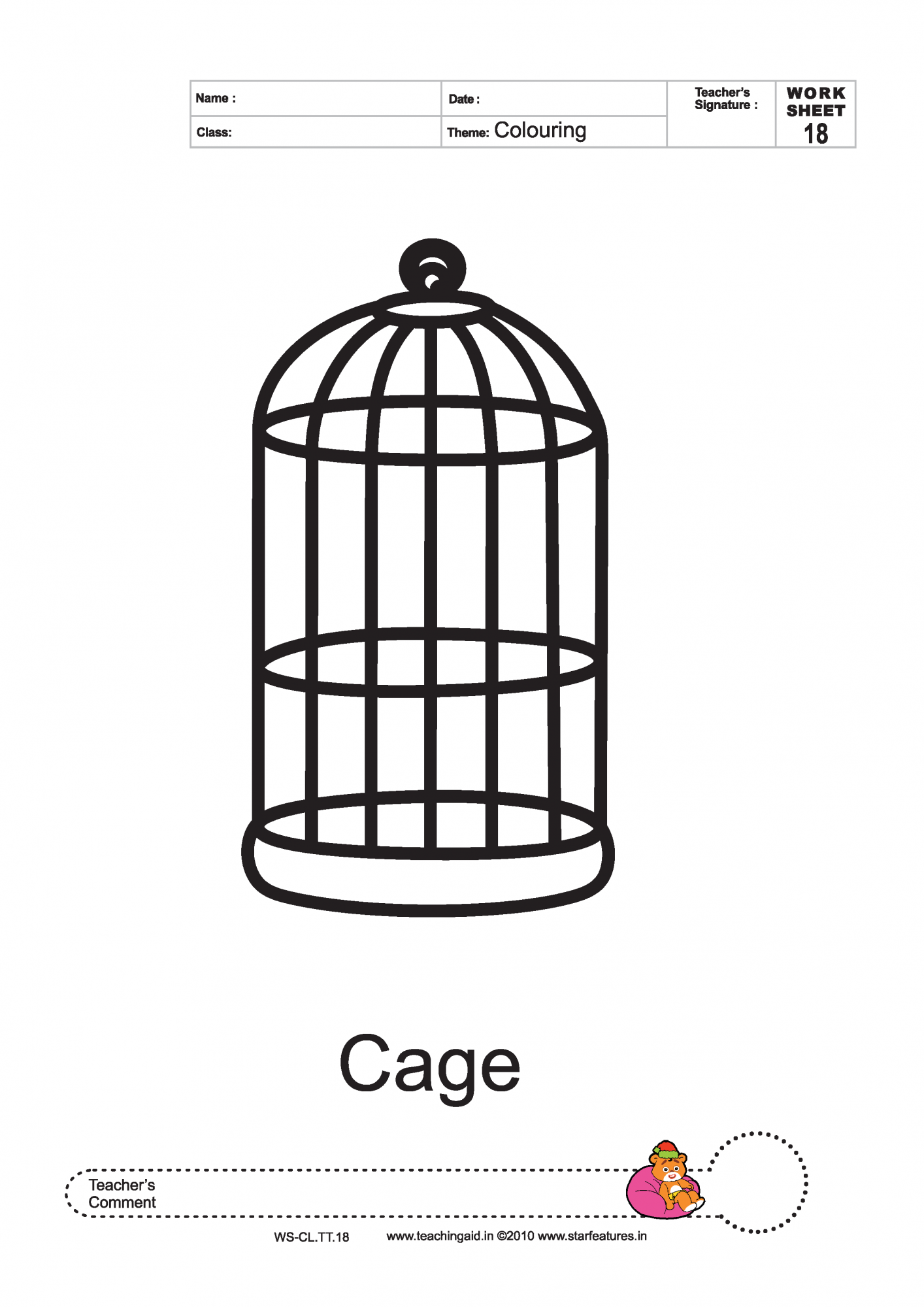 bird cage coloring pages - photo#1