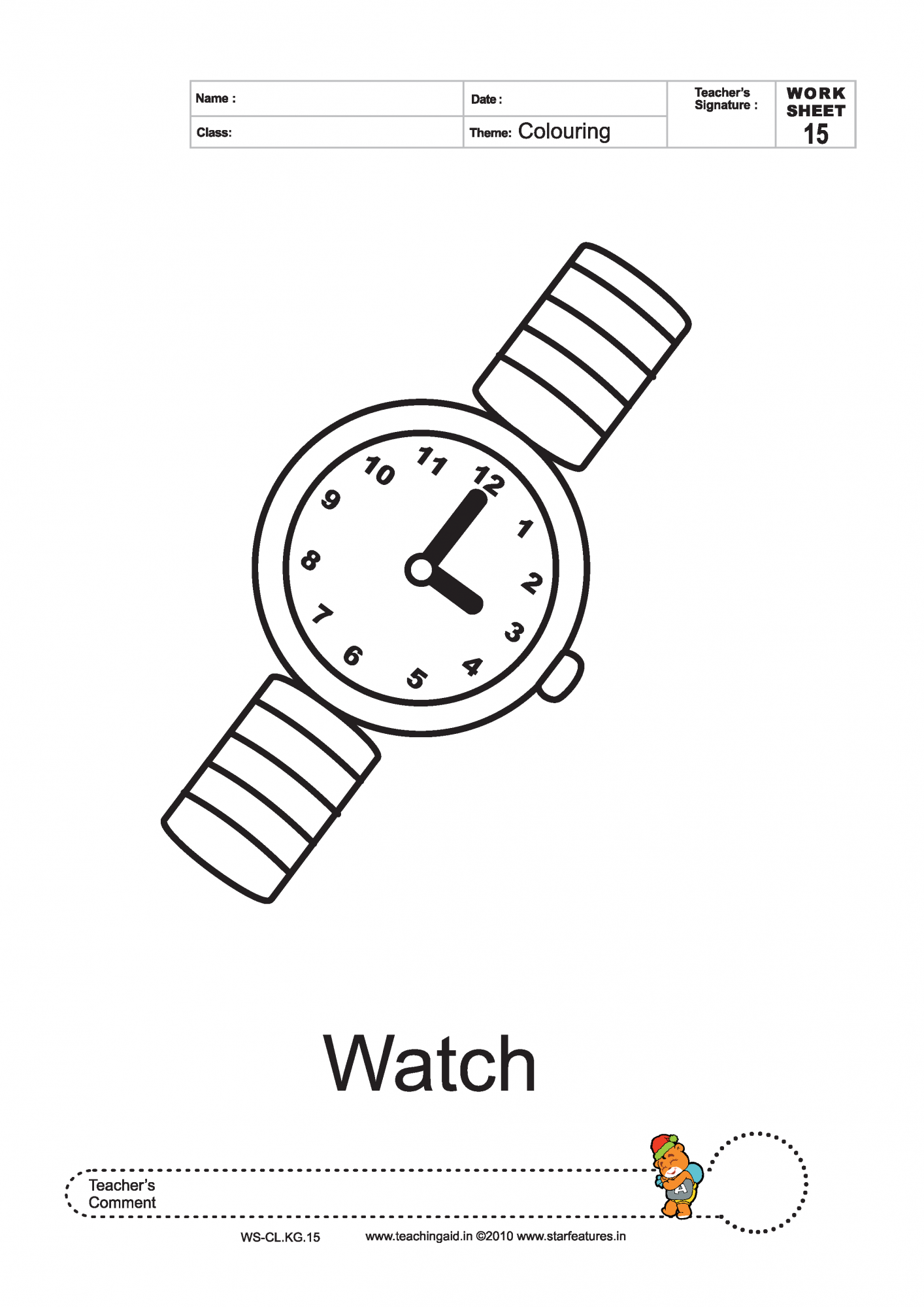 Watch coloring page coloring pages for Watch coloring page